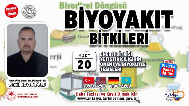 """20- 28 Mart tarihleri arasında online """"Biyoyakıt Bitkiler"""" eğitimi verilecek"""