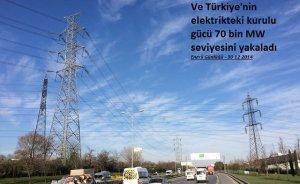 Ve Türkiye elektrikte 70 bin MW`yi yakaladı
