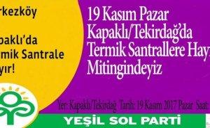 Yeşil Sol Parti'den Trakya'da termik karşıtı miting